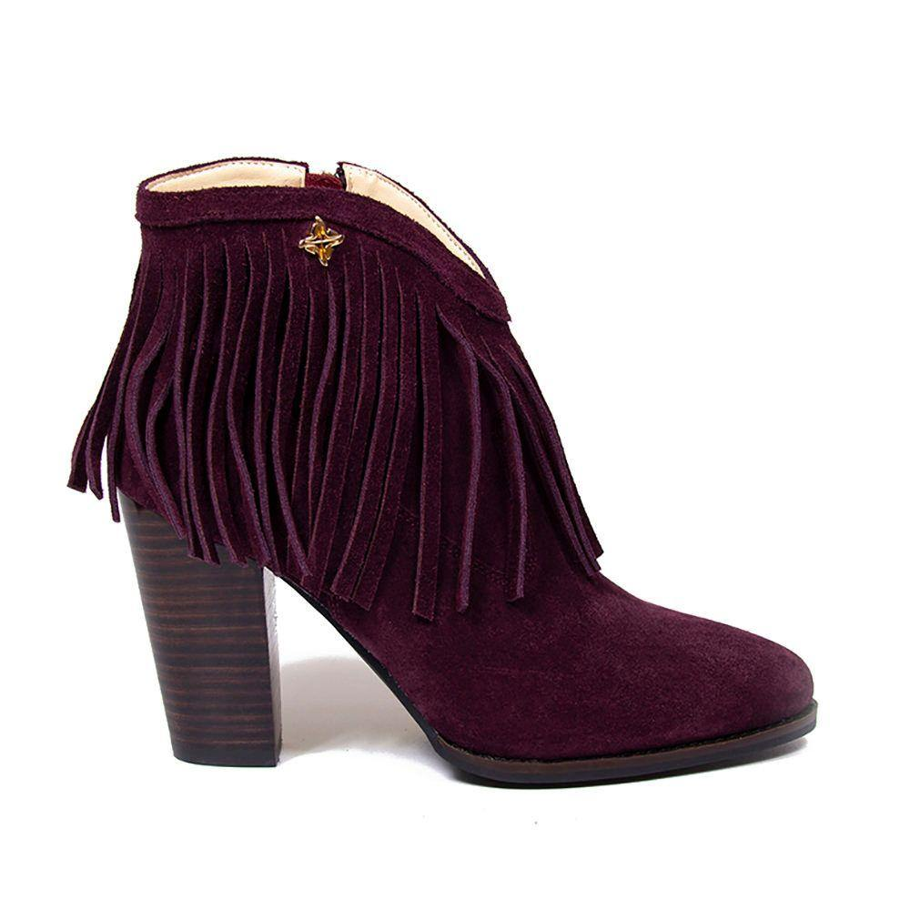 NICOLE Mulberry Suede Fringe Western Ankle Boot - Vanessa London