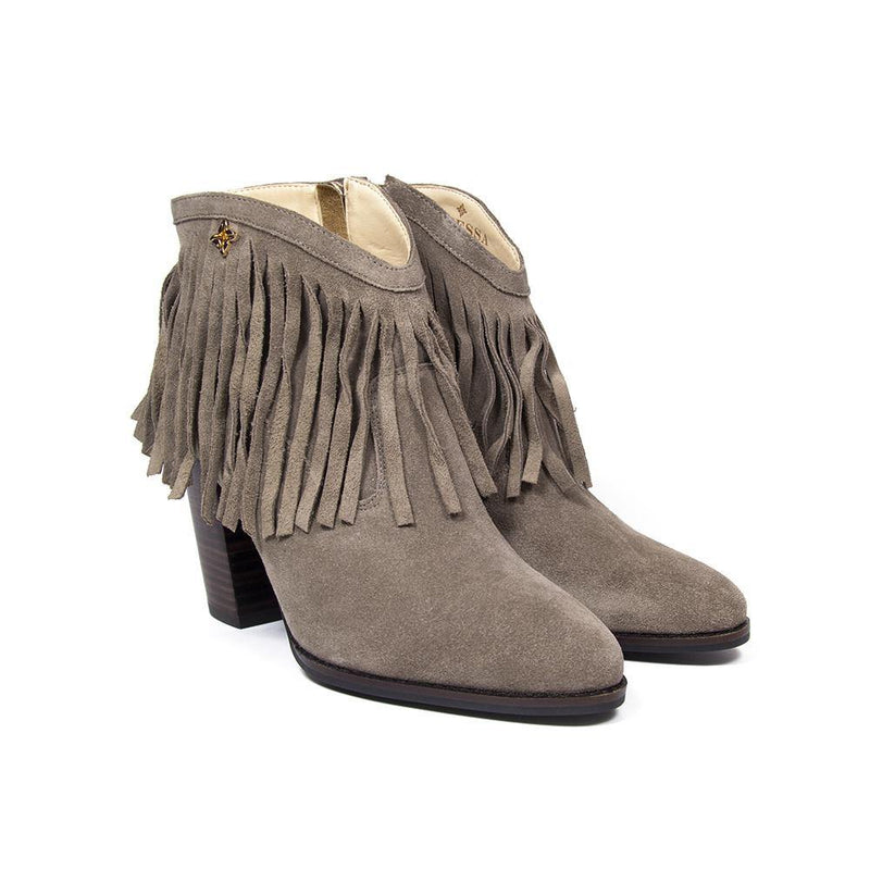 Designer Vanessa Townshend | Nicole Taupe Fringe Suede Western Ankle Boot | Vanessa London Shoes