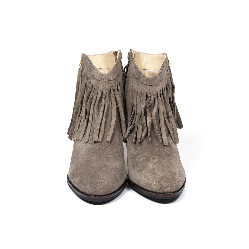 Buy Taupe Suede Fringe Western Boot | www.vanessalondon.com