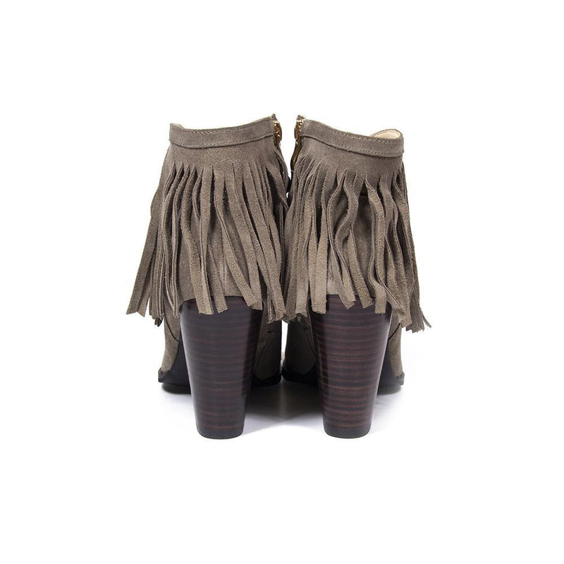 Women's Designer Boots | Nicole Taupe Fringe Suede Western Ankle Boot | Vanessa London Shoes