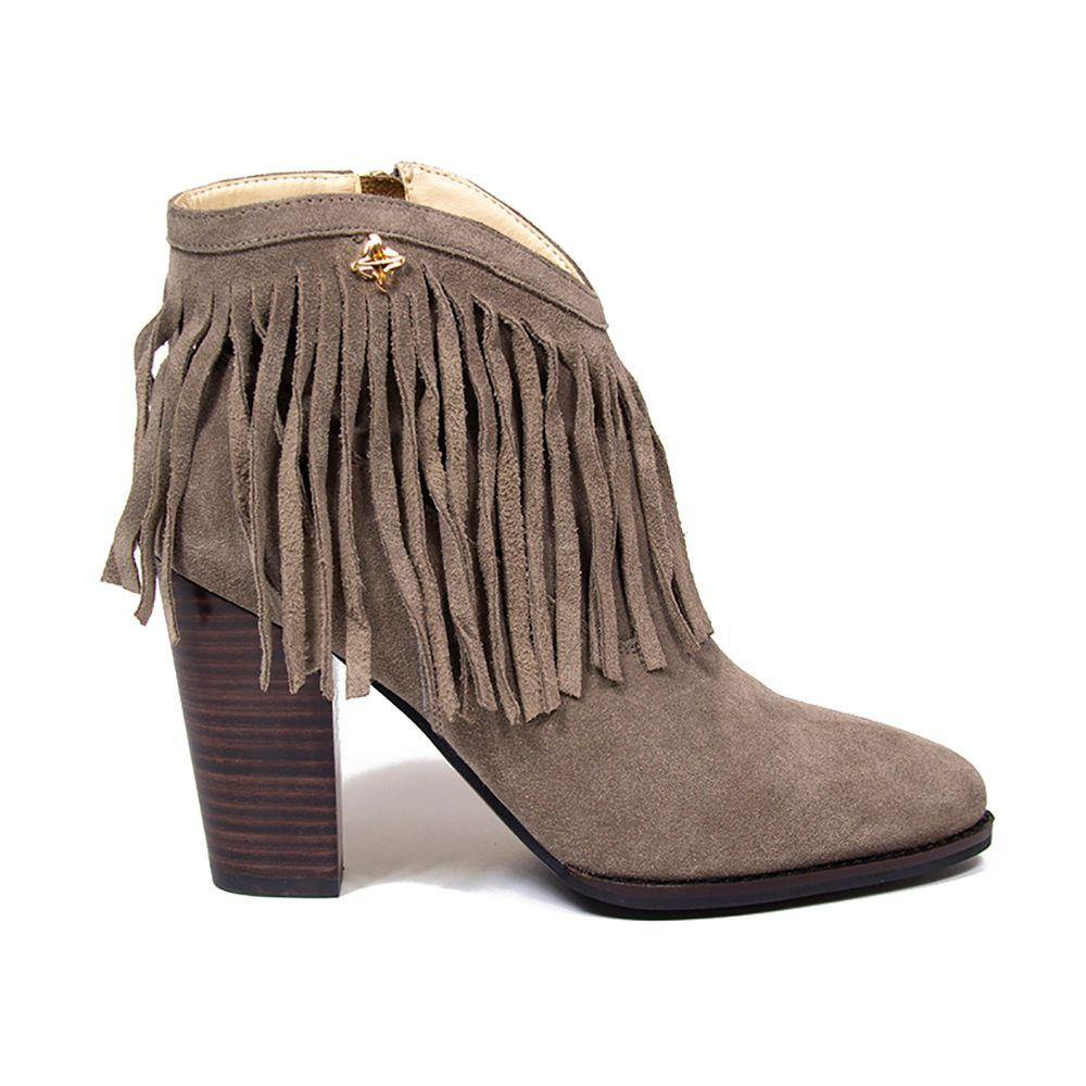 NICOLE Taupe Suede Fringe Western Ankle Boot - Vanessa London
