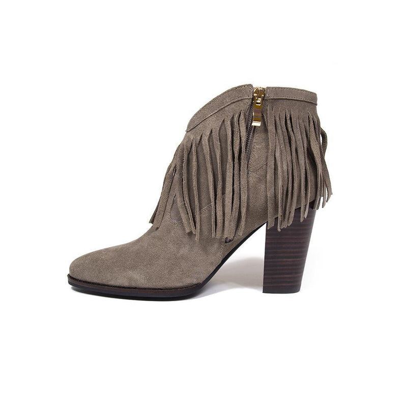 Buy Nicole Taupe Fringe Suede Western Ankle Boot | Vanessa London Shoes