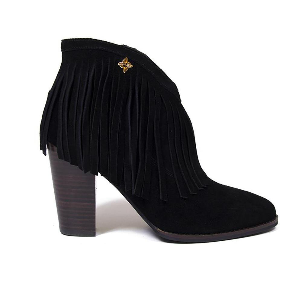 NICOLE Black Suede Fringe Western Ankle Boot - Vanessa London