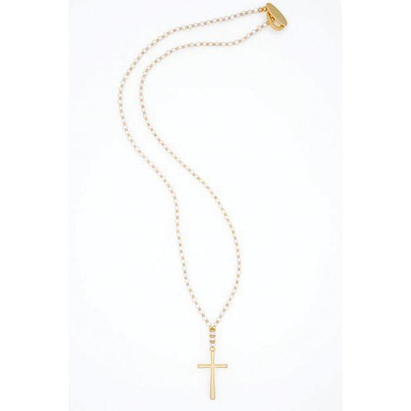 Pearl long Cross Necklace - Vanessa London
