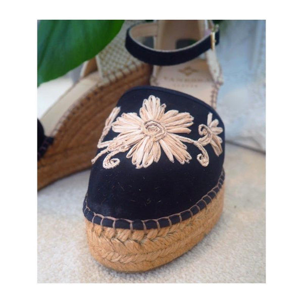 Jennifer Black Suede Embroidered Espadrille Wedge