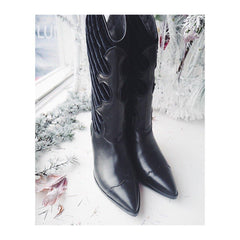 DOLLY Black Leather Velvet Cowboy Boot - Heels Boutique