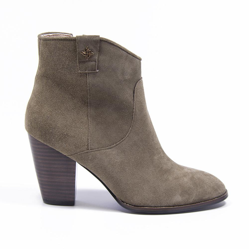 REESE Taupe Suede Western Ankle Boot - Vanessa London