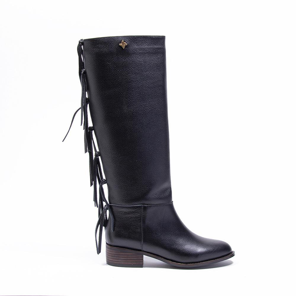 ROMEE Black Leather Fringe Knee High Boot | Vanessa London