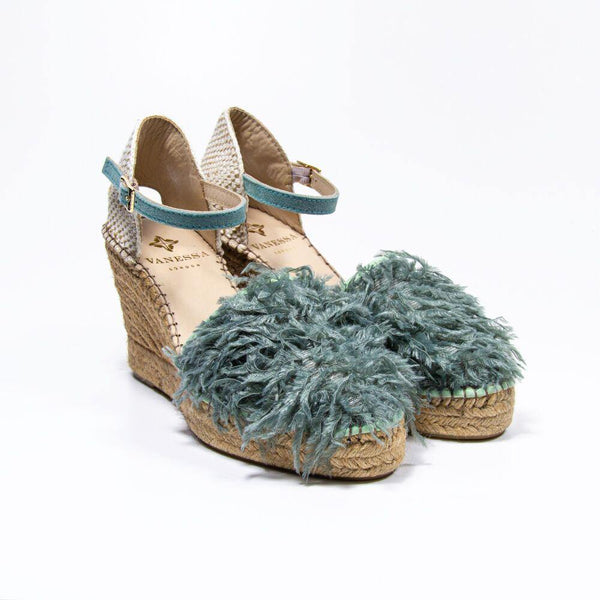 Jennifer Jade Faux Ostrich Feather Espadrille Wedge
