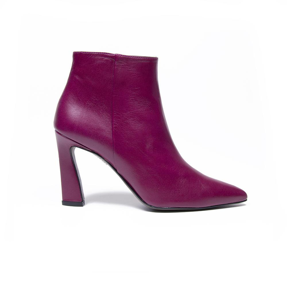 SCARLETT Deep Raspberry Leather Sculpted Heel Ankle Boot - Vanessa London