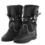 Stra1 Black Leather Mid Calf Length  Boot | Vanessa London