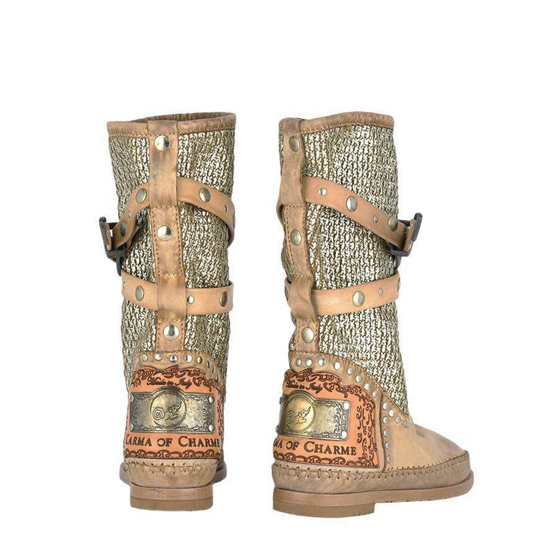 Tricot2Vintage Leather Beige Boho Boots