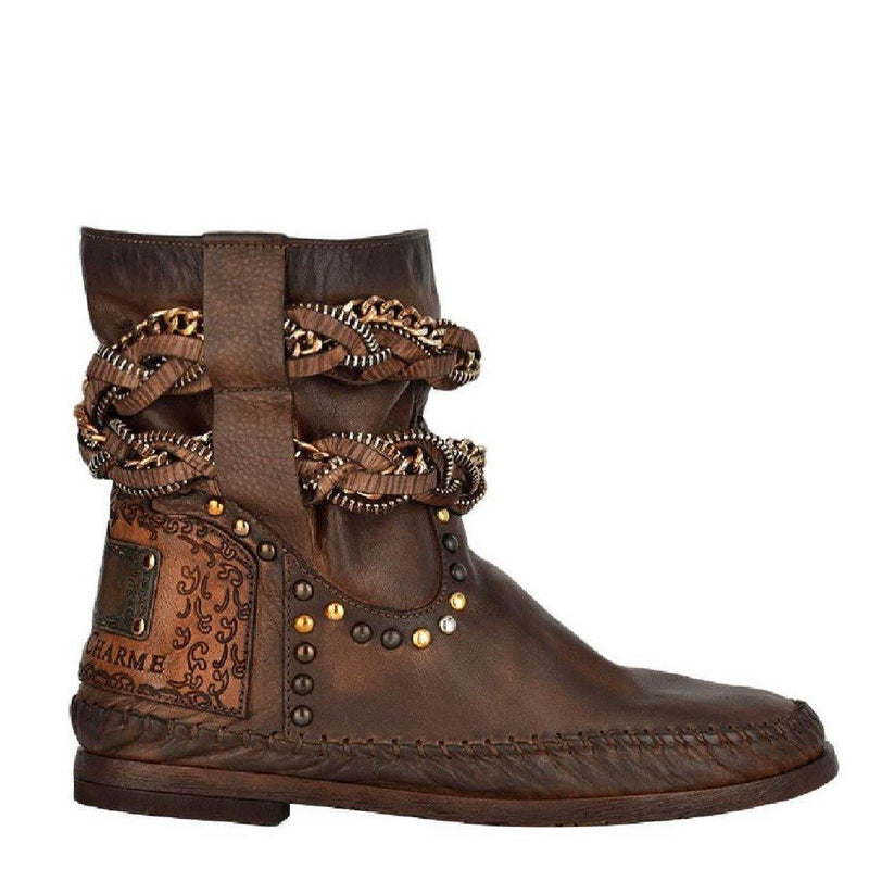 Stra2Django Dark Brown Leather Boots - Vanessa London