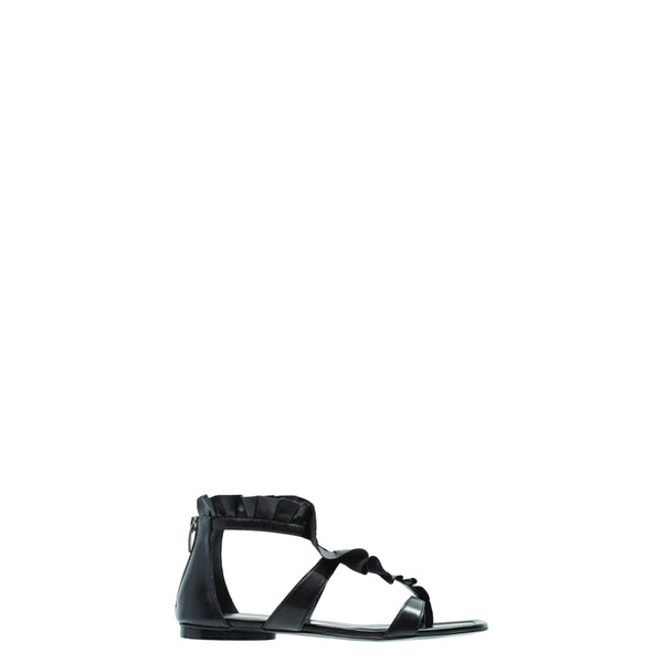 BRUNO PREMI Black Leather Ruffle Flat Sandal