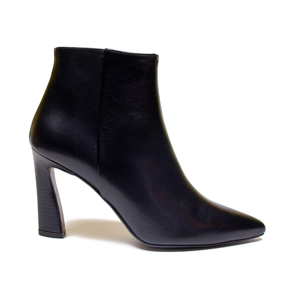 Vanessa London SCARLETT Black Leather Sculpted Heel Ankle Boot