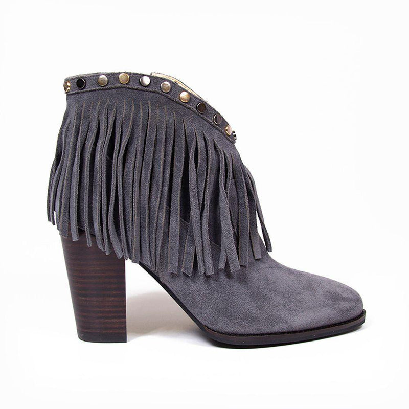 Vanessa London | NICOLE Grey Suede Fringe Stud Western Ankle Boot