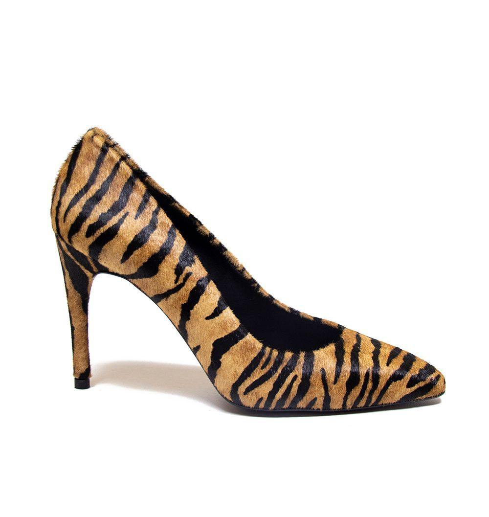 RAQUEL Tiger Print Pony Hair Stiletto Court Shoe