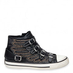 VERSO Black Leather Studded Hi-Top Sneaker - Heels Boutique