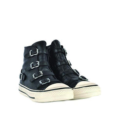 VIRGIN Black Leather Hi-Top Buvckle Sneaker