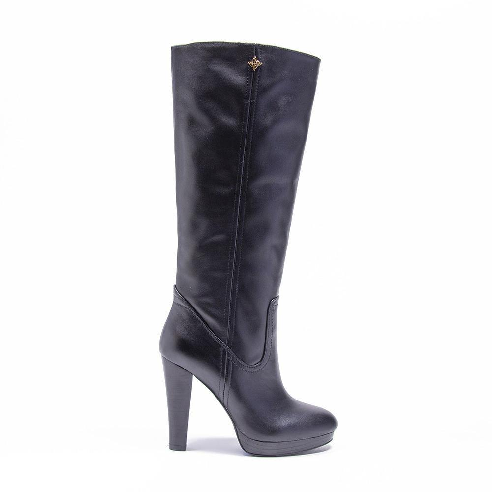 BLAKE Black Leather Platform Knee High Boot - Vanessa London