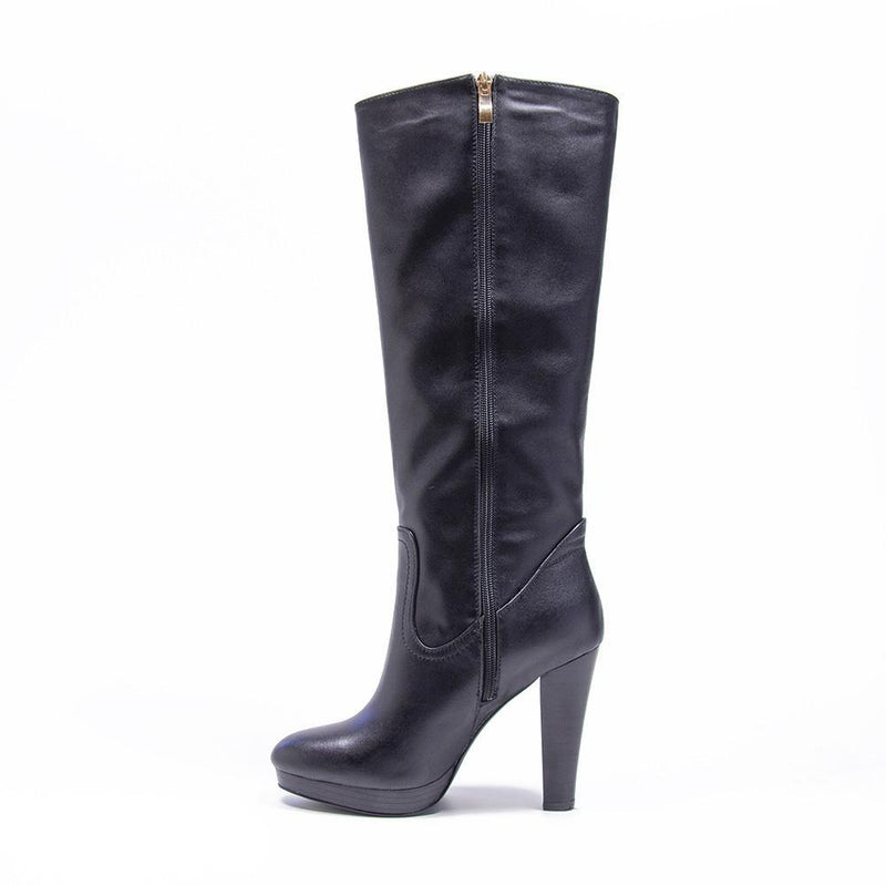 BLAKE Black leather Platform Knee High | Vanessa London