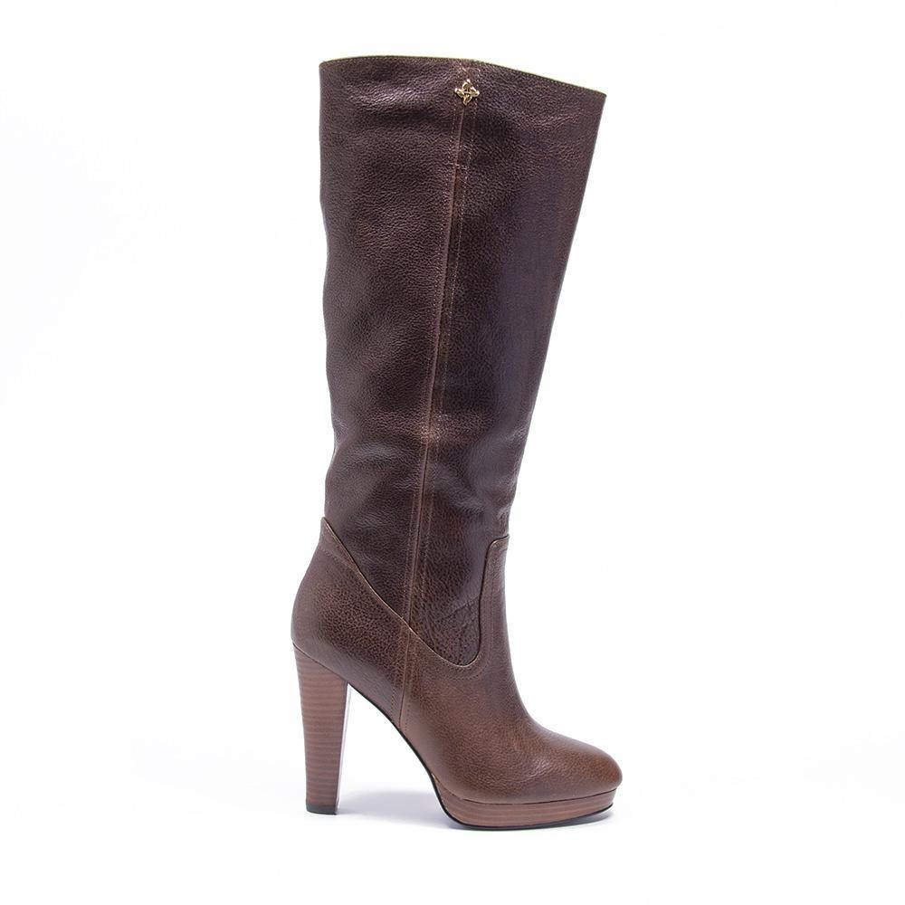 BLAKE Brown Leather Platform Knee High Boot - Vanessa London