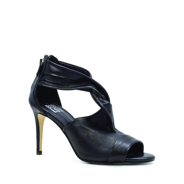 Black Nappa Leather Twist Knot High Heel Sandals
