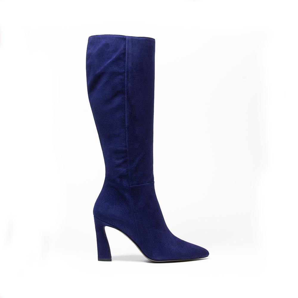 CHARLIZE Navy Suede Knee High Boot | Vanessa London