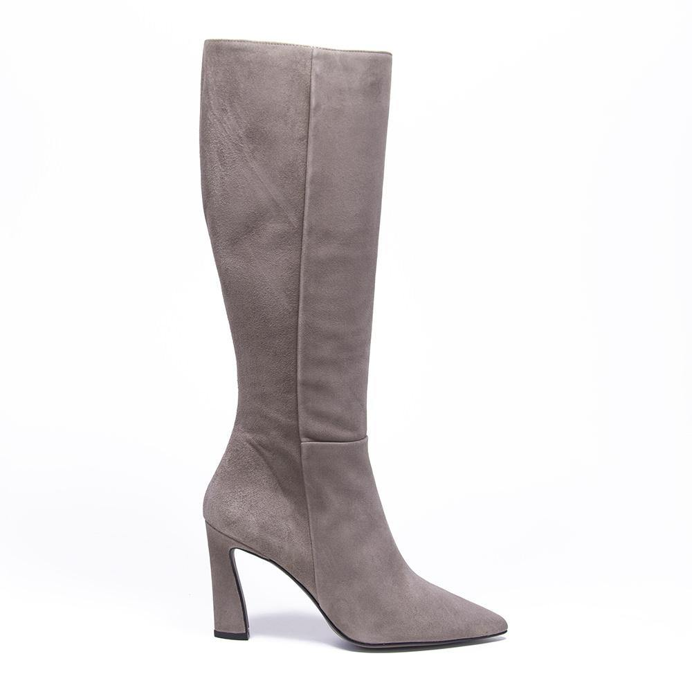 CHARLIZE Taupe Suede Knee High Boot - Vanessa London