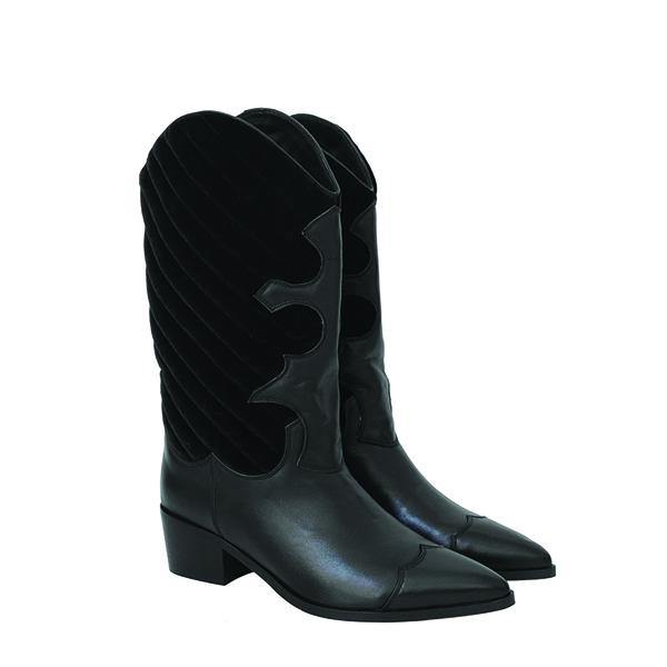 DOLLY Black Leather Velvet Cowboy Boot