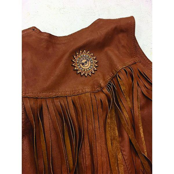 Cognac Tan Leather Fringe Western Gilet - Vanessa London