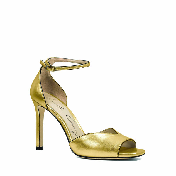 Gold Leather Open-Toe Heeled Sandal