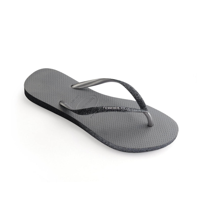Slim Grey Sparkle Flip Flop - Vanessa London