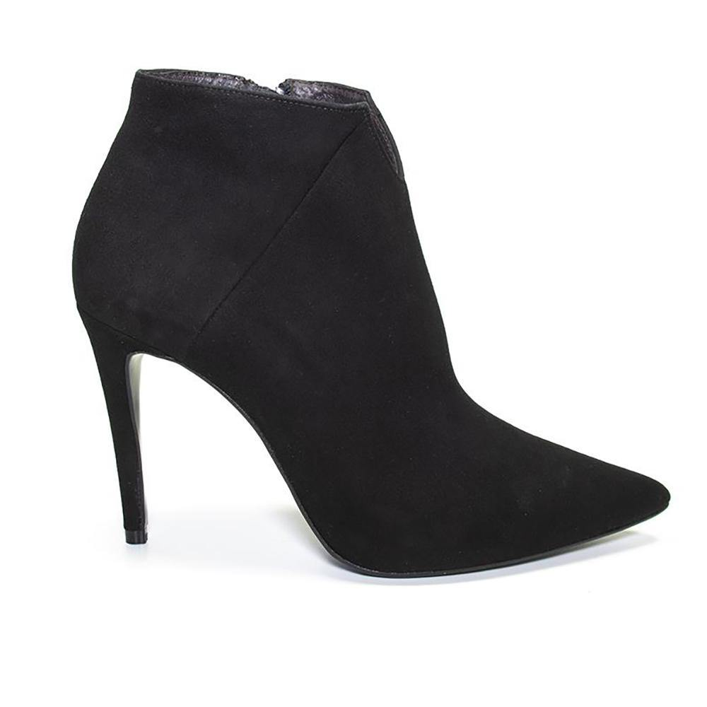 HALIE Black Suede Stiletto Ankle Boot