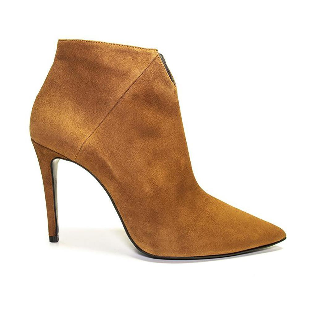 Halie Tan Suede Stiletto Ankle Boot | Vanessa London