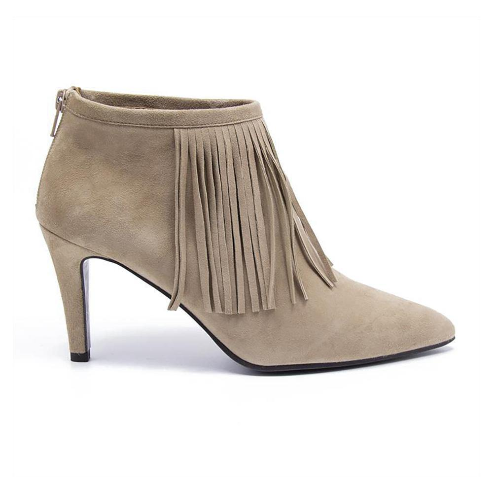 Luna Beige Suede Fringe Ankle Boot | Vanessa London