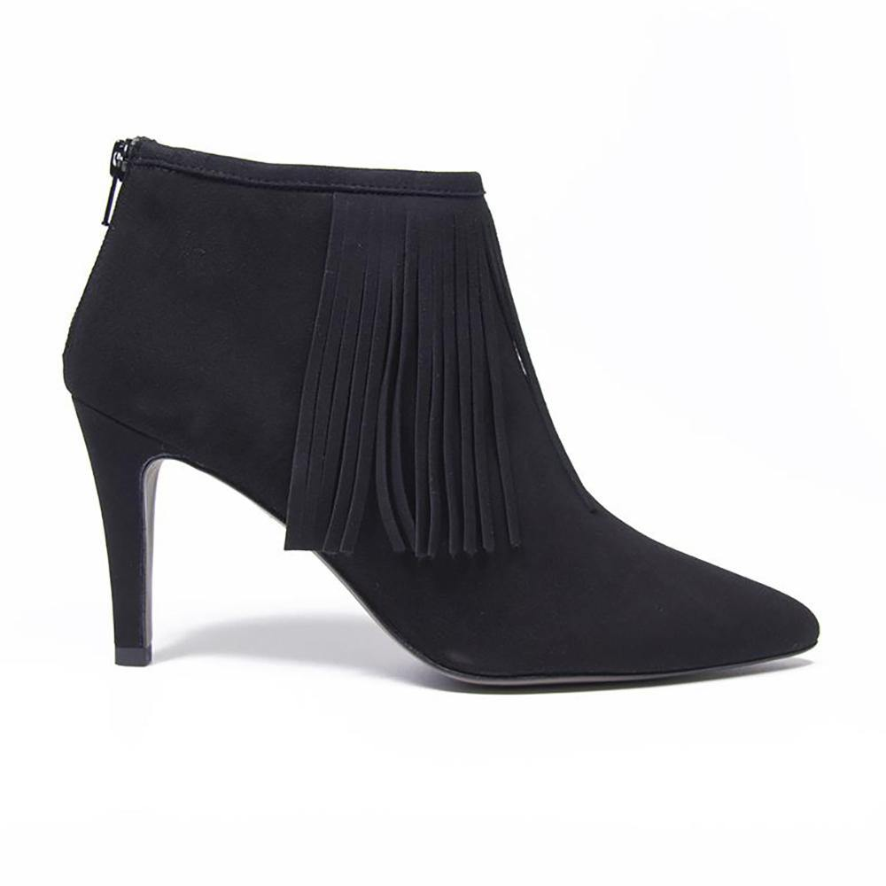 LUNA Black Suede Fringed Ankle Boot - Vanessa London