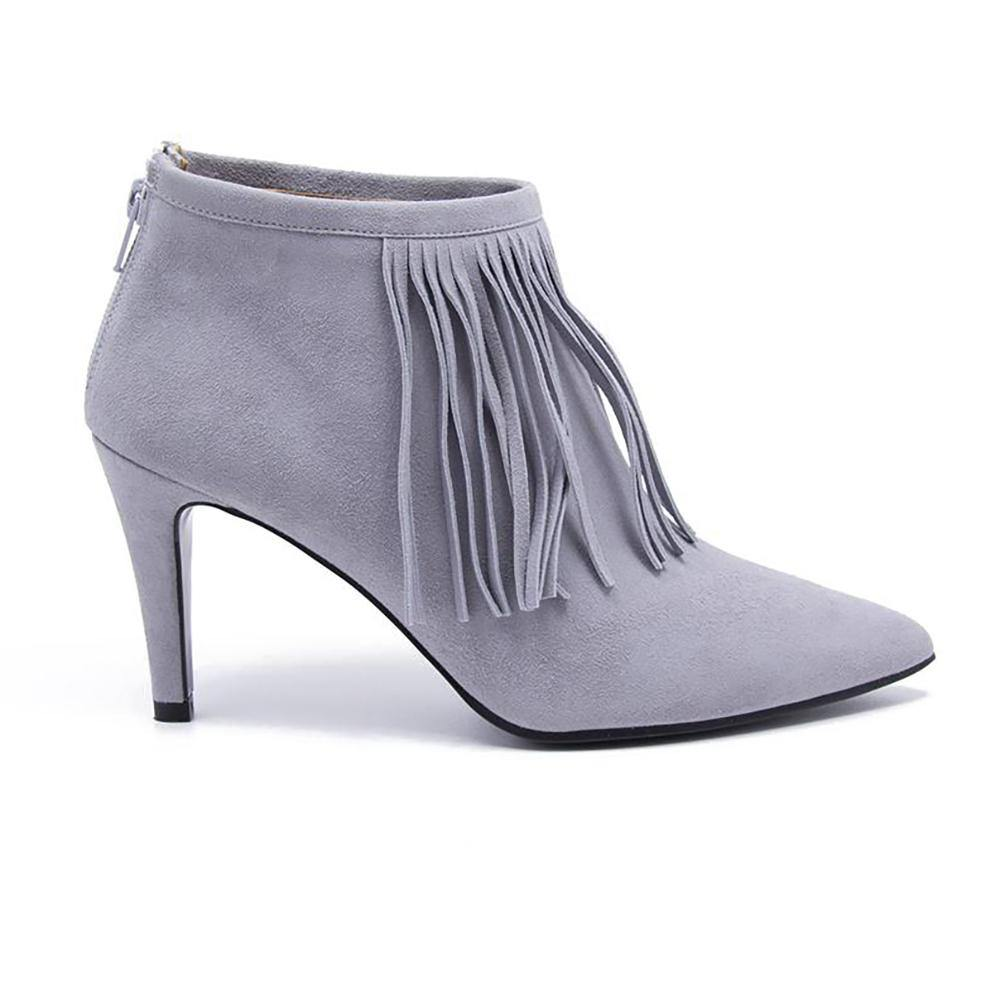 LUNA Grey Suede Fringed Ankle Boot - Vanessa London
