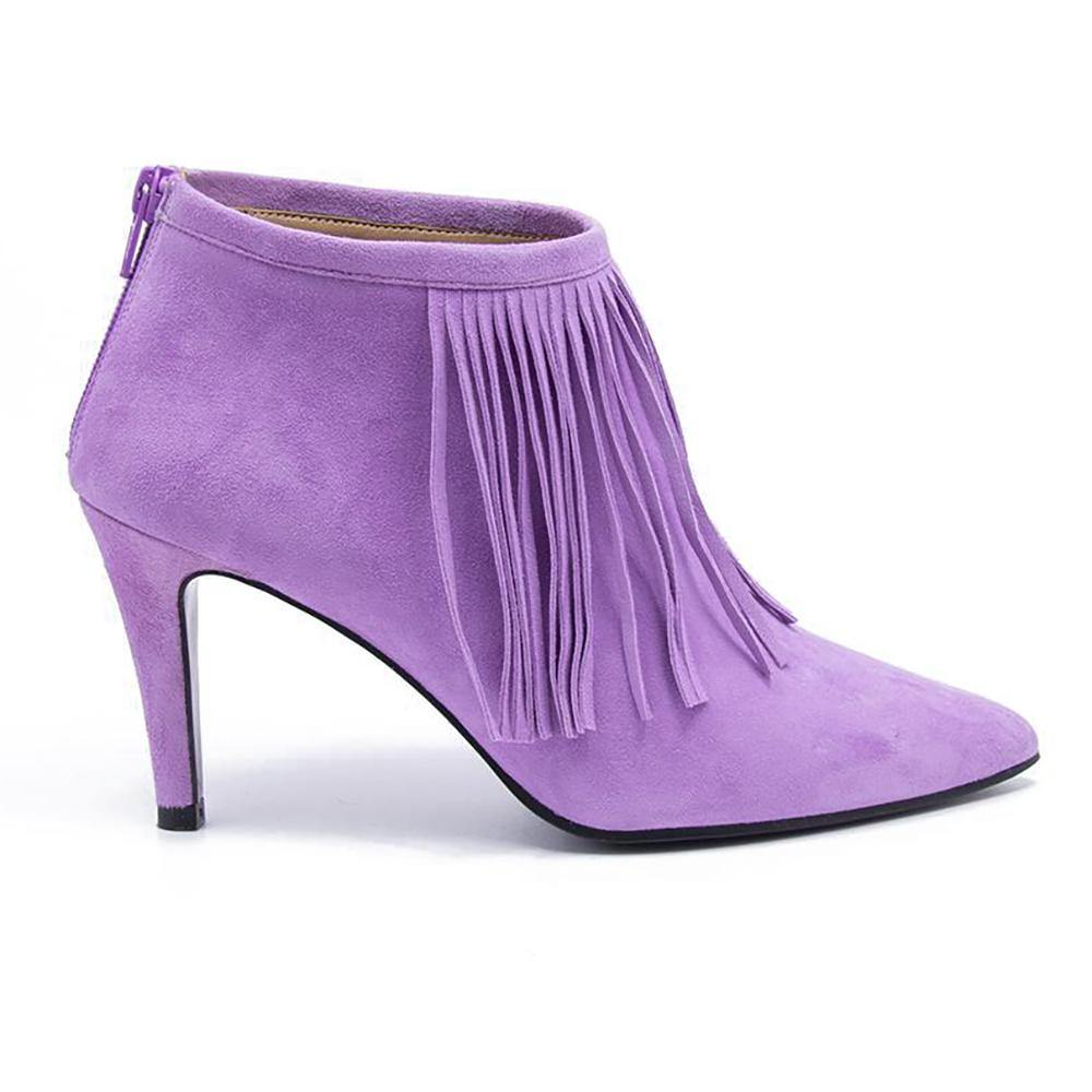 LUNA Lilac Suede Fringed Ankle Boot - Vanessa London
