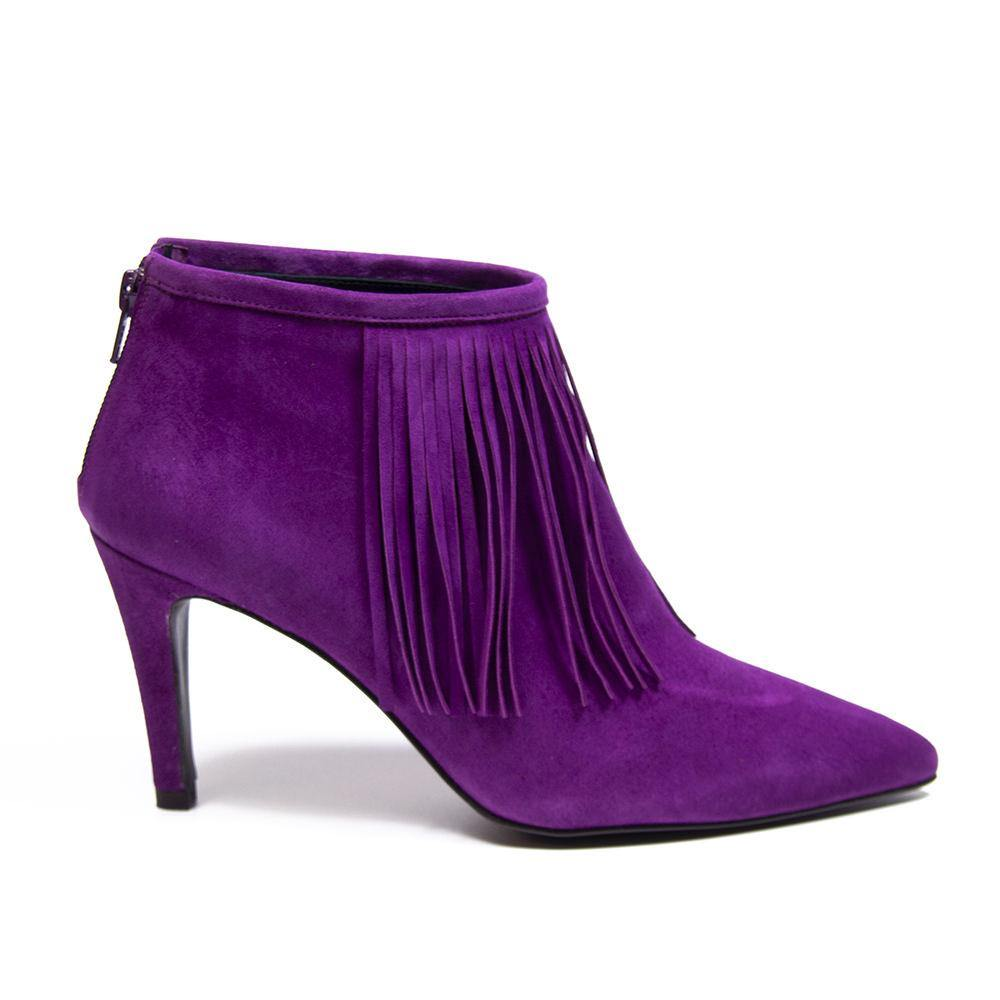 LUNA Magenta Suede Fringed Ankle Boot - Vanessa London