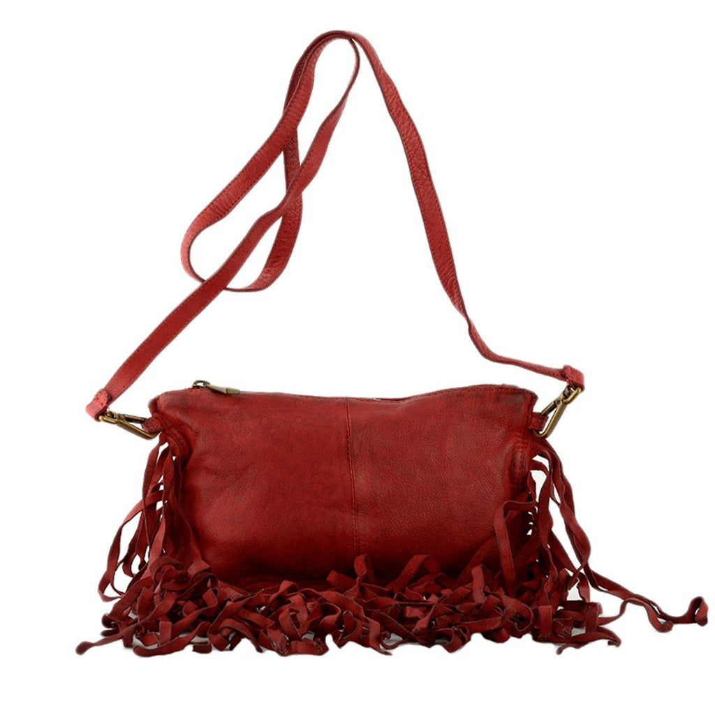 Red Leather Fringe Crossbody Bag / Clutch - Vanessa London