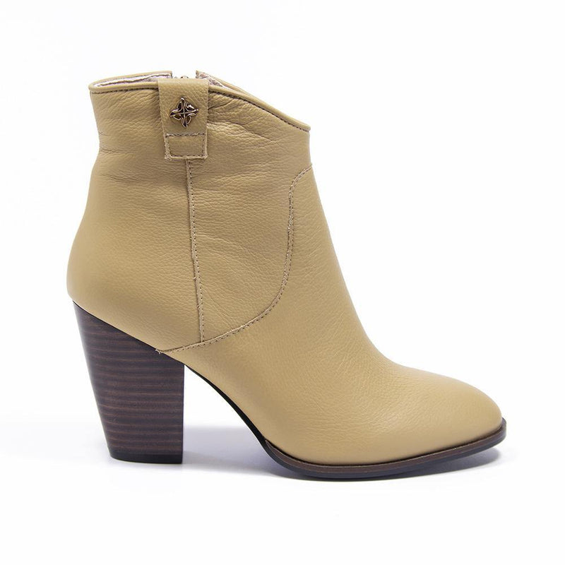 REESE Beige Leather Western Ankle Boot