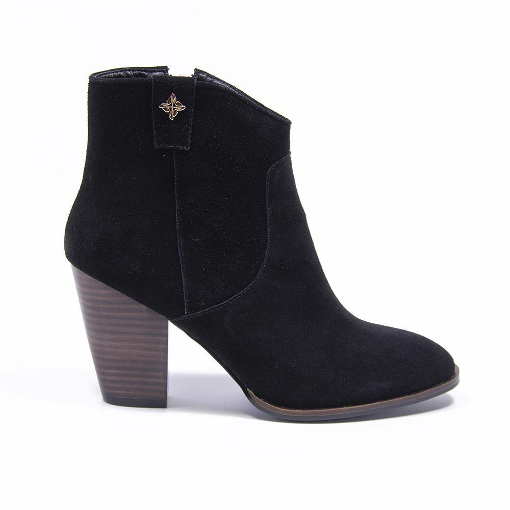 REESE Black Suede Western Ankle Boot - Vanessa London