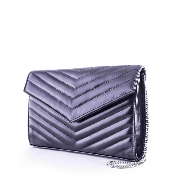 LINDA Black Leather Quilted Chevron Bag