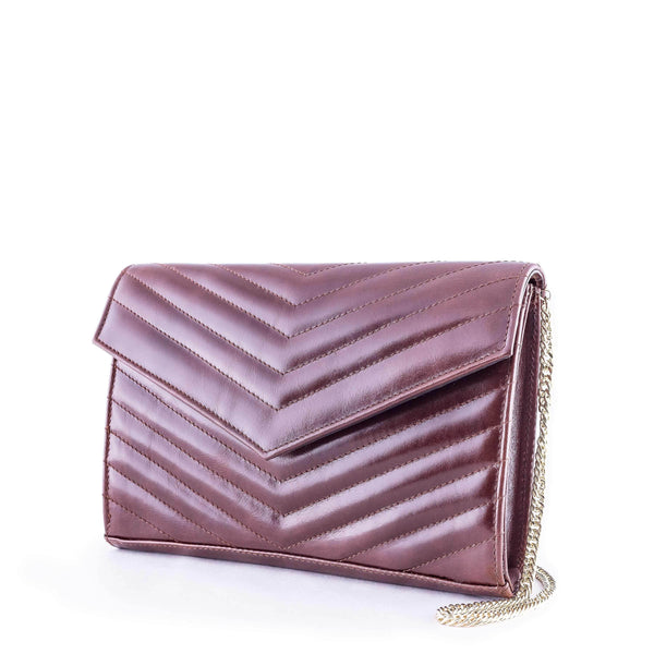 LINDA Cognac Leather Quilted Chevron Bag