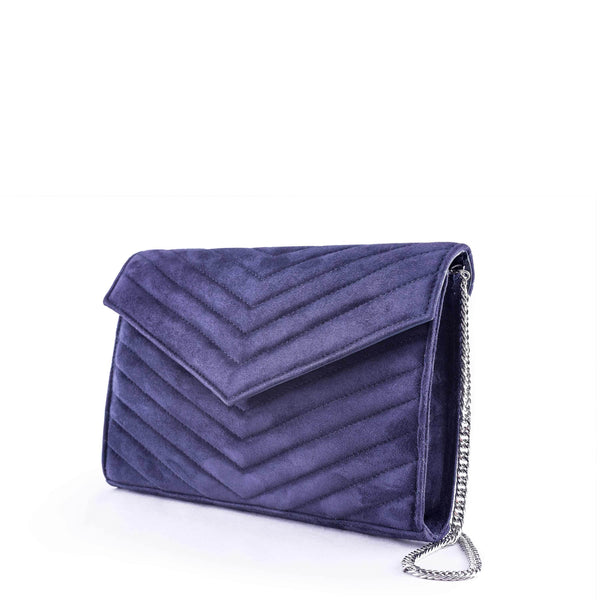 LINDA Navy Suede Quilted Chevron Bag