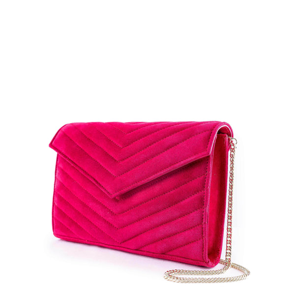LINDA Red Suede Quilted Chevron Bag
