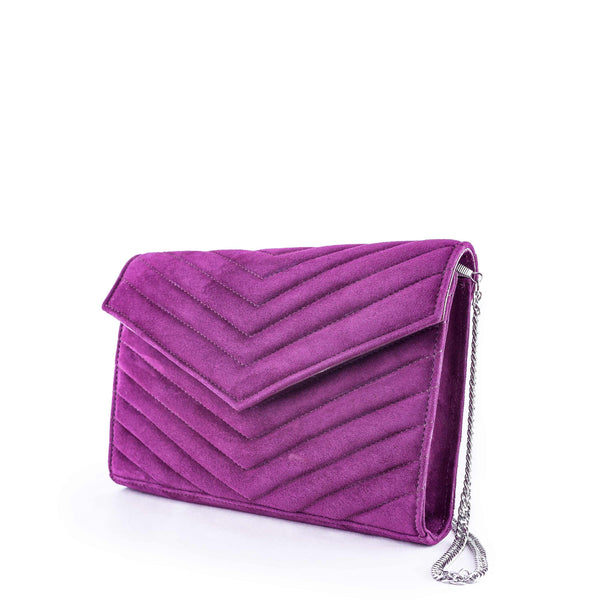 LINDA Violet Suede Quilted Chevron Bag