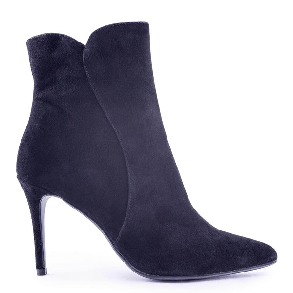 CHRISTY Black Kid Suede Pointed-Toe Ankle Boot