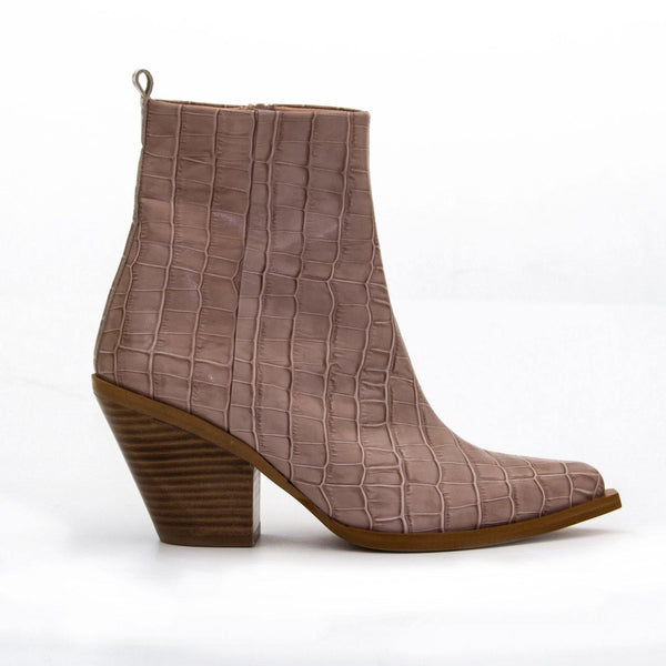 TEXA Taupe Croc Leather Western Ankle Boot